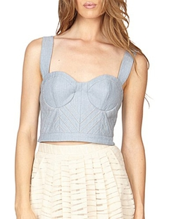Jamie - Iris Cropped Denim Bustier Top