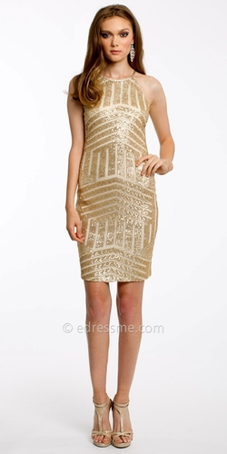 Camille La  - Sequined Halter Racer Back Party Dress