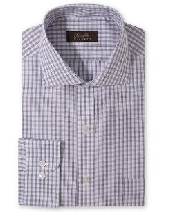 Tasso Elba  - Non-Iron Violet Texture Check Dress Shirt