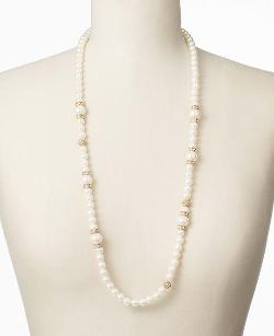 ANN TAYLOR - PAVE RONDELLE PEARLIZED NECKLACE
