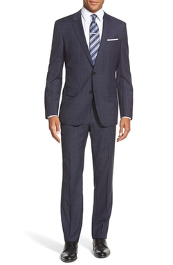 Boss  - Huge/Genius Trim Fit Plaid Wool Suit