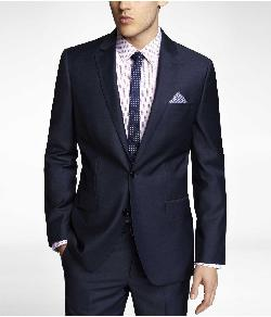 Express - NAVY MICRO TWILL PRODUCER SUIT JACKET