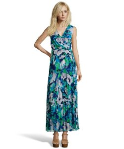 Donna Morgan  - Floral Printed Pleated Chiffon Mock Wrap Maxi Dress