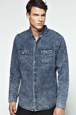 Boohooman - Long Sleeve Acid Wash Denim Shirt