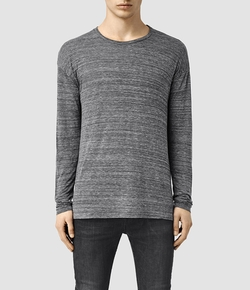 AllSaints - Lake Long Sleeve Crew Neck T-Shirt