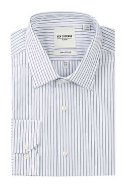 Ben Sherman  - Long Sleeve Slim Fit Stripe Dress Shirt