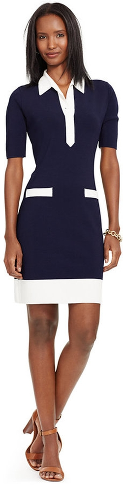 Lauren Ralph Lauren - Colorblocked Collared Dress
