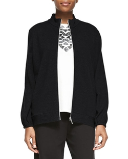 Joan Vass  - Mock-Neck Zip-Front Jacket