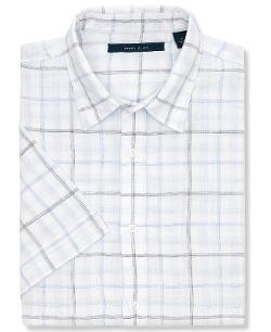 Perry Ellis - Windowpane Plaid Linen Shirt