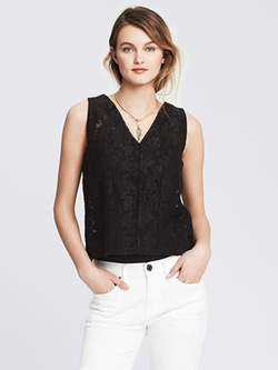 Banana Republic - Sheer Lace Organza Tank Top