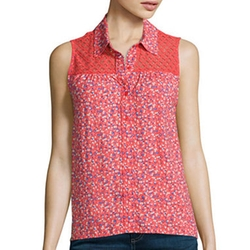 Arizona - Sleeveless Split-Back Lace-Inset Top