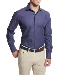 Peter Millar - Maritime Jacquard Long-Sleeve Sport Shirt