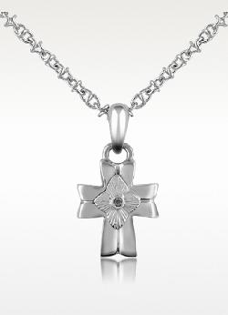 FORZIERI - Diamond and Stainless Steel Cross Pendant Necklace