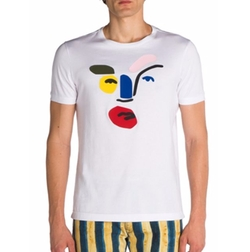 Fendi  - Leather Inlay Picasso Face Tee