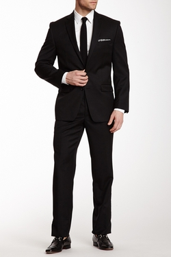 Calvin Klein - Black Solid Two Button Notch Lapel Suit