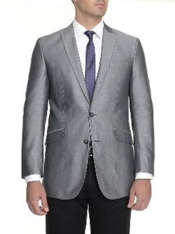 Kenneth Cole Reaction - Slim Fit Silver Cotton Blazer