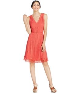 Alfani - Mesh-Overlay Flare Dress