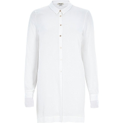 River Island - White Long Sleeve Button Front Shirt
