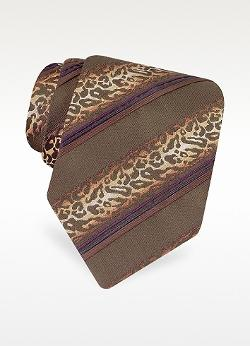 Roberto Cavalli  - Shaded Animal Pattern Stripe Woven Silk Tie
