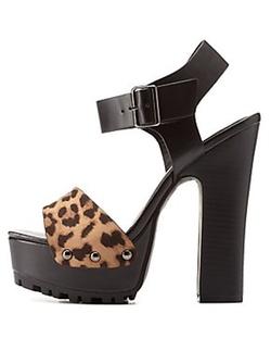 Charlotte Russe - Leopard Print Platform Chunky Heel Sandals