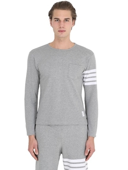 Thom Browne  - Long Sleeve Cotton Piqué T-Shirt