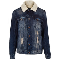 River Island - Blue Fleece Collar Denim Jacket