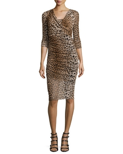 Fuzzi - 3/4-Sleeve Leopard-Print Ruched Dress