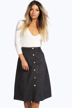 Boohoo  - Natalia Button Front A Line Midi Skirt