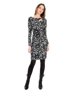 Kay Unger - Animal Print Asymmetrical Cutout Dress