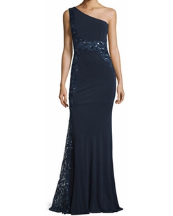 David Meister - One-Shoulder Sequined Embroidered Gown
