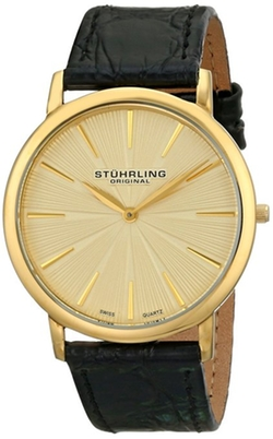 Stuhrling Original - lim Black Leather Band Gold Tone Watch