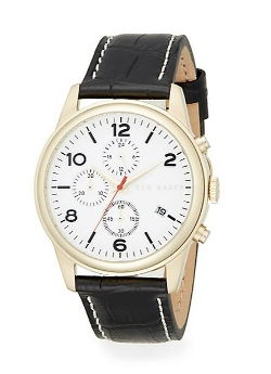 Ted Baker - Goldtone Stainless Steel & Embossed Leather Strap Chronograph Watch