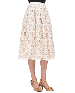 Michael Kors - Floral Lace Mid-Calf Skirt