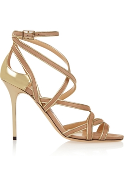 Jimmy Choo - Vargo Metallic Leather And Suede Sandals