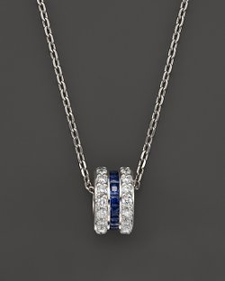 Bloomingdales - Sapphire and Diamond Rolling Pendant Necklace