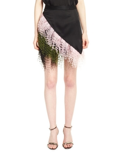 Christopher Kane - Asymmetric Feather-Trimmed Mini Skirt