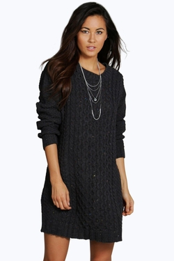 Boohoo - Caitlin Cable Knitted Nep Jumper Dress