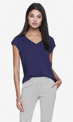 Express - Color Block Rolled Sleeve Blouse