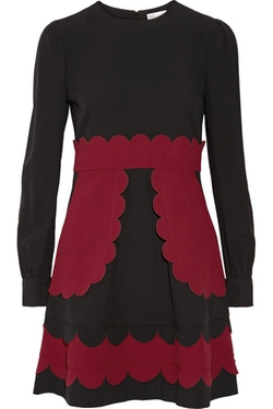 Red Valentino - Scallop-Appliquéd Crepe Mini Dress