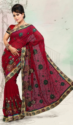 Indian Fashion Trend - Crimson Faux Georgette Saree