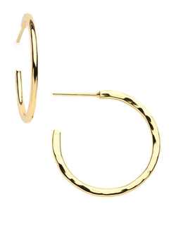 Lord & Taylor - Small Hammered Gold Plated Hoop Earrings