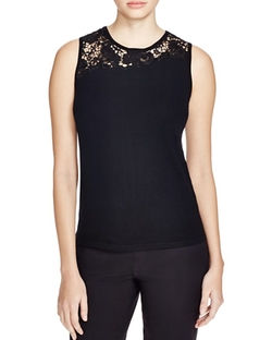 Elie Tahari  - Sienna Lace Panel Wool Shell Top