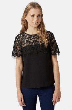 Topshop  - Lace Yoke T-Shirt