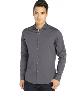 Stone Rose  - Charcoal Cotton Woven Button Front Shirt