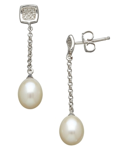 Lord & Taylor - Freshwater Pearl & Diamond Drop Earrings