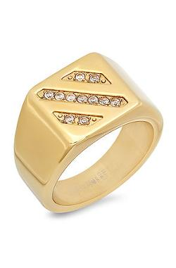 Steel Time - The 18K Gold Plated Ring With Cz