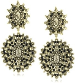 Yochi  - Chandelier Stone Burst Silver Plated Earrings