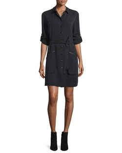 ATM  - Long-Sleeve Belted Shirtdress