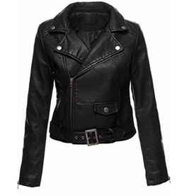 Luna Flower - Faux Leather  Moto Jacket
