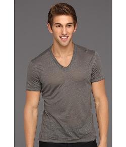 John Varvatos Collection - Linen V-Neck with Cotton Trim Shirt